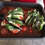 Eggplant Hasselback tomatoes in pan
