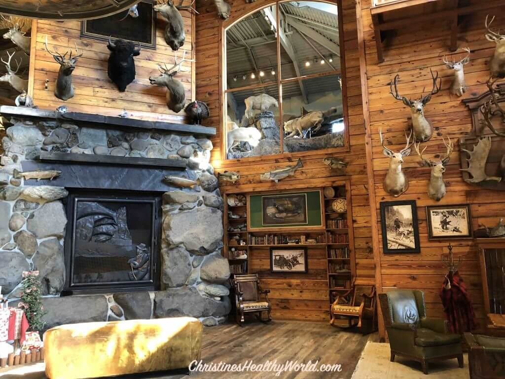 Bass Pro Shop fireplace in entry